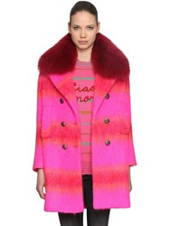 Giada Benincasa Striped Mohair Blend Coat W Fur Collar Multicolor