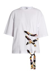 Msgm Laced Front Cotton T Shirt White Multi