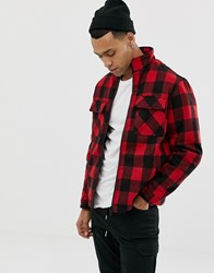 Your Turn Yourturn Checked Jacket In Red With Funnel Neck