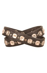 Men's Will Leather Goods Studded Wrap Cuff Black