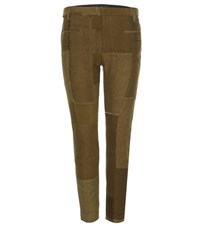 Haider Ackermann Cotton And Linen Trousers With Leather Green