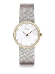 Christian Dior La D De Diamond Mother Of Pearl And Metallic Leather Watch Silver