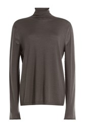 Rick Owens Wool Turtleneck Pullover With Cut Out Detail Grey