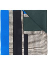 Odeeh Check Panel Scarf Green