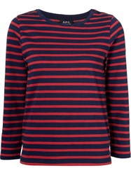 A.P.C. Striped Longsleeved T Shirt Red