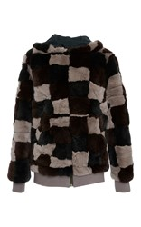 Mr And Mrs Italy Checkerboard Intarsia Hoodie Brown Black