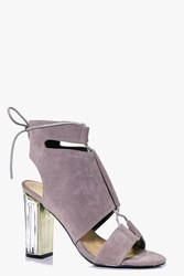 Boohoo Clear Heel Lace Up Shoe Boot Grey