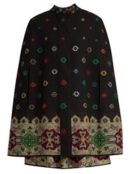 Alexander Mcqueen Cross Stitch Jacquard Wool Mix Cape Black Multi
