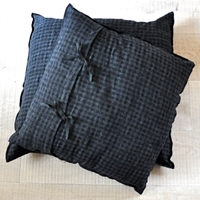Squared Cushion Cover Checked Fine Woolblend With Large Black Oversewing Finish