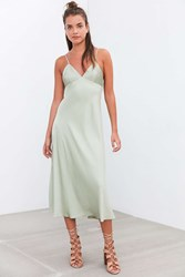 Silence And Noise Silence Noise Silencer Bias Cut Satin Slip Dress Green
