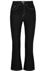 Attico Blanca Cropped High Rise Flared Jeans Black