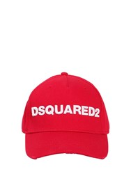 Dsquared Logo Cotton Canvas Baseball Hat Red White