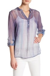 Casual Studio Printed Sheer Blouse Purple
