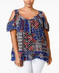 American Rag Plus Size Printed Cold Shoulder Top Only At Macy's Sodalite Blue Combo