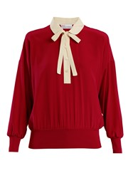 Red Valentino Peter Pan Collar Tie Neck Silk Blouse Red