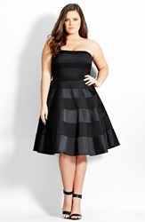 Plus Size Women's City Chic 'Miss Shady' Stripe Strapless Fit And Flare Party Dress