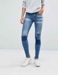 Vila Patchwork Skinny Jeans Denim Blue