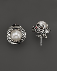 John Hardy Naga Sterling Silver Lava Dragon Stud Earrings With Cultured Freshwater Pearl Black Sapphire And African Ruby Eyes Silver Multi