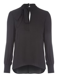 Jane Norman Pussybow Blouse Top Black