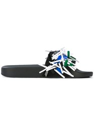 Msgm Fringed Flat Sandals Women Pvc Rubber 35 Black