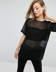 Asos Woven T Shirt In Sheer And Solid Black