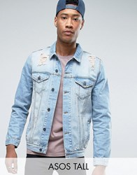 Asos Tall Denim Jacket In Mid Wash With Rips Mid Wash Blue