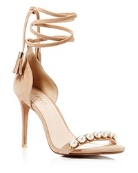 Raye Bennie Faux Pearl Studded Ankle Wrap High Heel Sandals Tan