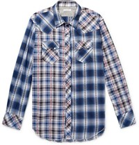 Engineered Garments Embroidered Checked Cotton Shirt Blue