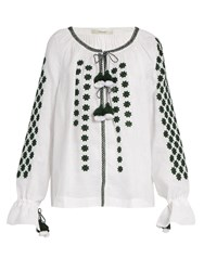 Vita Kin All Stars Embroidered Linen Blouse Green White