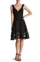 Dress The Population Women's 'Maya' Woven Fit And Flare Black