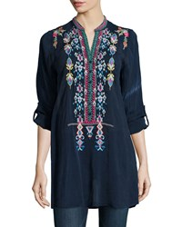 Johnny Was Azten Embroidered Tab Sleeve Blouse Deep Dawn