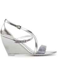 Hogan Strappy Wedge Sandal Metallic