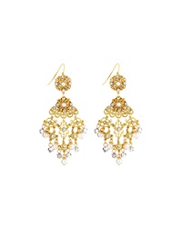Jose And Maria Barrera Faux Pearl And Crystal Filigree Chandelier Earrings
