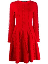 Antonino Valenti Long Sleeve Knit Dress Red