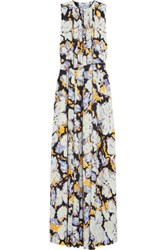 Msgm Belted Printed Silk Gown Sky Blue