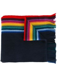 Paul Smith Ps By Striped Scarf Blue