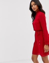 Oasis High Neck Dress Red
