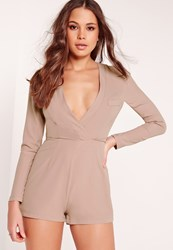 Missguided Crepe Long Sleeve Blazer Playsuit Taupe Brown
