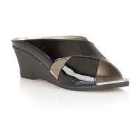 Lotus Trino Wedge Sandals Jet Black