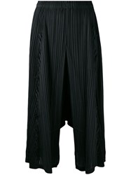 Issey Miyake Pleats Please By Pleated Cropped Trousers Black