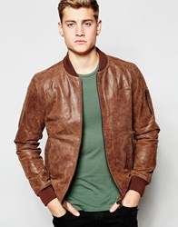 Solid Leather Bomber Jacket Tan