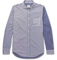 Wooster Lardini Slim Fit Button Down Collar Striped Cotton Shirt Blue
