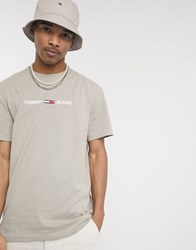 Tommy Jeans Chest Small Logo T Shirt In Stone