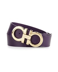 Salvatore Ferragamo Large Gancini Buckle Belt Purple Women's