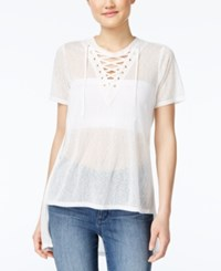 Material Girl Juniors' Lace Up Tunic Only At Macy's White