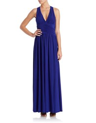 Hailey Logan Twisted Back Halter Gown Electric Blue