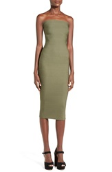 Missguided Strapless Bandage Body Con Dress Green