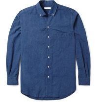 Loro Piana Cotton And Linen Blend Chambray Shirt Blue