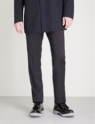 Armani Collezioni Tailored Fit Straight Wool Trousers Navy