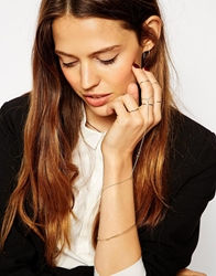 Asos Fine Rings Bangle And Hand Harness Multipack Gold